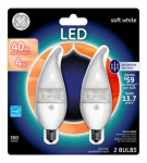 G E Lighting 34716 LED Bulb, Deco, Clear, Candelabra Base, 4-Watt, 2-Pk.
