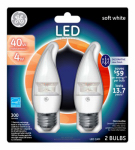 G E Lighting 17755 LED Bulb, Deco, Clear, Medium Base, 4-Watt, 2-Pk.
