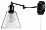 Globe Electric 65392 LED Plug-In Wall Sconce, Dark Bronze Finish, Clear Glass Shade