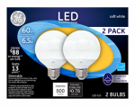 G E Lighting 37275 LED White Globe Lamp, 7-Watt, 2-Pk.