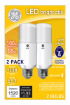 G E Lighting 32304 LED Bright Stik Bulb, Soft White, 16-Watt, 2-Pk.