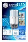 G E Lighting 36457 Reveal LED Bright Stik Bulb, 10-Watt, 2-Pk.