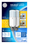 G E Lighting 36477 Reveal LED Bright Stik Bulb, 16-Watt, 2-Pk.