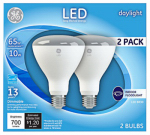 G E Lighting 22726 LED BR30 Bulb, Daylight, 10-Watt, 2-Pk.