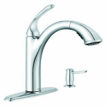 Moen/Faucets 87035 Kinzel Collection Pull-Out Kitchen Faucet, Low-Arc, Chrome