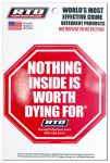 Cogent Group RTD-X1Y Home Security Window Decal - Nothing Inside Is Worth Dying For
