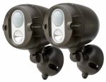 Mr Beams/Wireless Environment MBN352-BRN-02-04 Net Bright  Wireless LED Spotlight, Motion Sensing, Brown, 200-Lumens, 2-Pk.