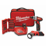 Milwaukee Electric or Electrical Tool 2482-22 M12 Cordless 2-Tool Combo Kit or Kitchen with Bit Set, Lithium-Ion, 12-Volt