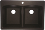 Franke Kitchen Systems EDOX33229-1 Double-Bowl Granite Composite Sink, Onyx, 22 x 33-In.