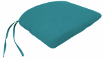 Jordan Mfg 9845-2555D Uptown Patio Bistro Seat Cushion With Ties, Blue, 18.75 x 17.25 x 2.5-In.
