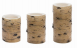 Sterno Home CGT12890TN3 Flameless Pillar Candle Set, Tan Birch, Battery-Operated, 3-Pk.