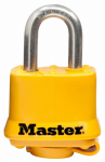 Master Lock 315SSKADHC Weatherproof Laminated Padlock, Yellow, 1.5-In., Keyed