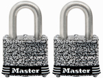 Master Lock 3SSTHC Weatherproof Laminated Padlock, Stainless Steel, 1.5-In., 2-Pk., Keyed