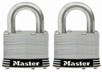 Master Lock 5SSTHC Laminated Padlock, Stainless Steel, 2-In., Keyed, 2-Pk.