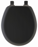 Bemis Mfg 41EC 047 Round Molded Wood Toilet Seat, Easy-Clean & Change  Hinge, STA-TITE , Black Wood