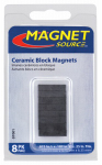 "Master Magnetics 07001 Ceramic Block Magnets .875""L X.25""W X .1875""Thk, 8 pieces"
