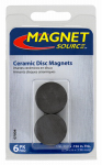 "Master Magnetics 07004 Ceramic Disc Magnet, 1""D X .156""Thk, 6 pieces"