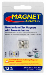 "Master Magnetics 07526 Super Neodymium Disc Magnets with Adhesive .375""D X 060""Thk, 8 pieces, 6 north pole out, 6 south pole out"