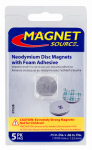 "Master Magnetics 07528 Super Neodymium disc magnets with foam adhesive, .75""D X .060""Thk, 5 pieces north pole out"