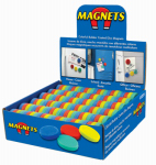 "Master Magnetics 07691DSP Colorful rubber coated disc magnets in counter Display, 1: Dia X .25""thk, 144 pieces, 4 colors-red, blue, yellow, green"