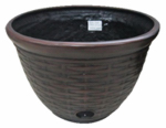 Liberty Garden Products 1920 High-Density Resin Hose Pot, Wicker Design, 12 x 18-In.