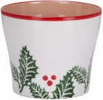 Scheurich Usa 57352 Holiday Planter/Pot Cover, Ceramic, Red/Red/Green, 5.5 x 6.25-In.