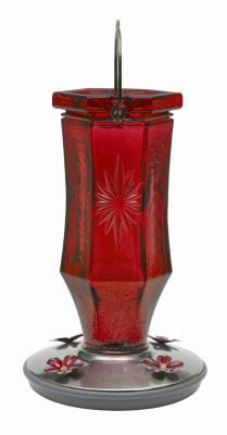 8139-2 Hummingbird Feeder, Vintage Ruby Starburst