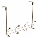 Brainerd Mfg Co/Liberty Hdw OTDDEVO-SN-U Over-the-Door Rail With 4 Double Hooks, Satin Nickel