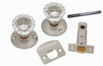 Belwith Products 1148-SN Passage Door Latch Set, Glass Knobs, Satin Nickel