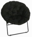 Zenithen Limited IC504S Round Dish Chair, Black Padded Microfiber & Frame