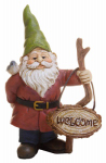 """Marshall Home MG243 Mini """"Welcome"""" Garden Gnome, 3.5-In."""
