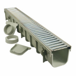 Nds 864GMTL Pro Series Channel Drain Kit, Polyolefin and Steel with Metal Grate, 5 x 39-In.