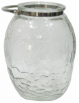 Woods International 45313 Clear Patterned Glass Candle Holder, 10-In.