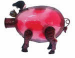 Forever Gifts DSS150003CT Solar LED Light Pig Lantern, Glass & Metal, 14 x 10.6-In.