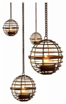 Star Bright KF67035 Hanging Fireball LED Flickering Lights, 12-In. Balls, Set of 4