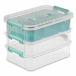 Sterilite 14138606 Stack & Carry 3-Layer Handle Box With Tray