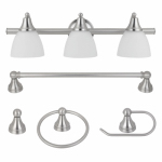 Globe Electric 50700 3-Light Vanity Set, Frosted Glass, Brushed Steel