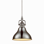 Globe Electric 65440 Plug-In Pendant Light Fixture, Brushed Steel Finish, In-Line Switch, 15ft Clear Cord