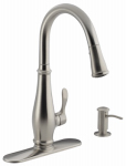 Sterling/Kinkead R780-VS Cruette Kitchen Faucet, Pull-Down Spray, Single Handle, Matching Soap Dispenser, Stainless Steel