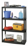 Plano Molding 93741 Shelving Unit, 4 Shelves, Plastic, Black, 34.25 x 14.25 x 55.25-In.