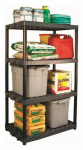 Plano Molding 952404 Shelving Unit, 4 Shelves, Heavy-Duty Plastic, Black, 24 x 36 x 61.5-In.