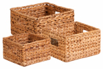 Honey Can Do Intl STO-02882 Nesting Water Hyacinth Baskets, Brown, 3-Pk.
