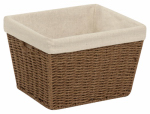 Honey Can Do Intl STO-03565 Paper Rope Storage Tote With Liner, Brown, 10 x 12 x 8-In.