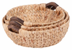 Honey Can Do Intl STO-04469 Round Water Hyacinth Basket, Brown, 3-Pc.