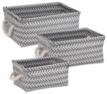 Honey Can Do Intl STO-06690 Zigzag Baskets, Gray, 3-Pc.