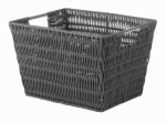 Whitmor 6500-1717-GREY Rattique Storage Tote, Gray, 9.88 x 12.63 x 7.9-In.