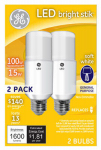 G E Lighting 63857 LED Bright Stik Light Bulbs, Soft White, 1,600 Lumens, 15-Watt, 2-Pk.