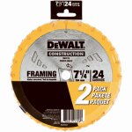Dewalt Accessories DW3578D2 Circular Saw Blade, 7.25-In., 24-Tooth, 2-Pack