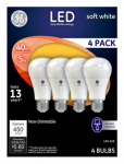 G E Lighting 61973 LED Light Bulbs, Soft White, 450 Lumens, 5-Watt, 4-Pk.