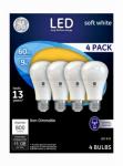 G E Lighting 61986 LED Light Bulb, Soft White, 800 Lumens, 9-Watt, 4-Pk.